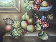 Tableau Peinture à Huile Toile Grappe Fruit sur la Table Large Classique