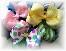 8  Hair Bows Lot 5 Inch Boutique Custom to Your Choice of Colors /Clip