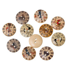 15mm 50pcs/lot 2holes Mixed British Clock Buildings Wooden Sewing Buttons DIY