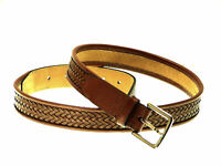 """New ~ COLE HAAN Brown Weave Woven Leather Belt 36"""""""