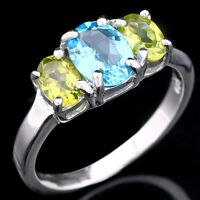 NATURAL 8X6MM SWISS BLUE TOPAZ & APPLE PERIDOT STERLING SILVER 925 RING SIZE 8