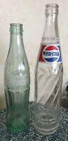 Two Heavy Glass Vintage Bottles - 16 oz Pepsi and 10 oz Coca Cola Green Bottle