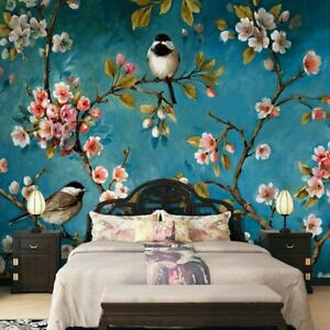New Custom Flowers Birds Oil Painting Wallpaper Room Bedroom Background Covering