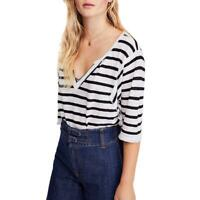 We The Free Womens Head In The Clouds Striped V Neck Tee T-Shirt Top BHFO 7209