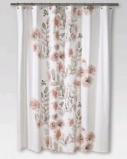 """Threshold Coral Blooms Flat Weave Shower Curtain (72""""x72"""") Coral Gray Taupe New"""