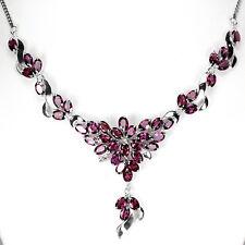 Sterling Silver 925 Genuine Natural Rhodolite Garnet Cluster Necklace 18 Inch