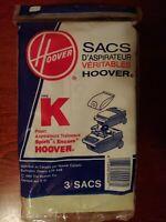 Pack of 3 Genuine Hoover Vacuum Cleaner Bags- Type K- Spirit Cleaners- *NEW*