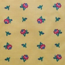 Vintage Cone Mills Pinwale Corduroy Fabric Yellow with Pink Flowers