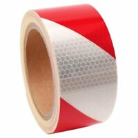 10m x 5cm Ruban autocollants bande reflechissante couleur rouge + blanc R8G2