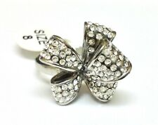 Bow Ring, Size 7 Stainless Steel Micro-Pave Cubic Zirconia