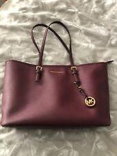 Genuine Michael Kors Plum Jet Set Tote Bag Handbag In Saffiano Leather