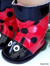 "LADYBUG Vinyl RAIN BOOTS Doll SHOES fits 18"" AMERICAN GIRL Doll Clothes Lady Bug"