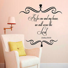 Wall Decal Quotes Bible Verses Psalm Joshua 24:15 As for Me and My House L346