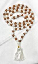 Rudrax & Moon stone Mala Hindu Japa Meditation Yoga Necklace Rosary 108 Bead