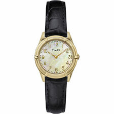 Timex TW2P76200, Women's Black Leather Watch, Mother of Pearl Dial