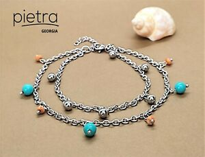 Turquoise and Jasper Double Chain Ankle Bracelet, Beach Anklet, Boho Anklet