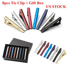 8PCS Set Slim Skinny Regular Ties Necktie Clasp Mens Tie Clip Bar US Warehouse