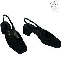 TopShop Joss Women's Shoes Black Perforated Suede Slingback Square Toe Size 4 Uk