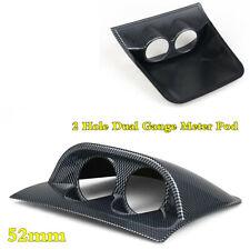 Carbon Fiber Look 2 Hole Dual Gauge Meter Pod Holder Car Dashboard Mount 52mm