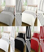 100% Egyptian Cotton Diamond Stripe Duvet Quilt Covers With PillowCase Or P/Case