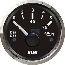 KUS Boat Oil Pressure Gauge for Marine Yacht Engine Outboard 12/24V 0-5 Bar 52mm