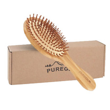 pureGLO Natural Bamboo Paddle Hair Brush Oval