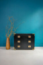 VINTAGE BLACK LACQUERED CAMPAIGN CHEST OF DRAWERS WITH BRASS DETAILING