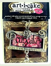 Art I Cake Pendant with glass accents, Amy Labbe, Cupcake, Pink, Brand New,