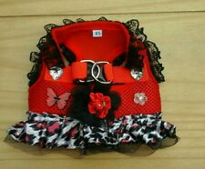 Designer size Xsmall chihuahua dog  /red leaperd print harness dress..