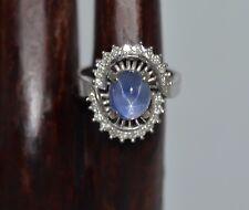 Estate Blue STAR SAPPHIRE (24) Diamonds 14k White Gold RING  size 5.75