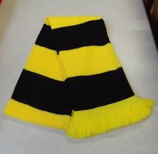 Watford Colours Chunky Knit Bar Scarf - Yellow & Black - Made in UK