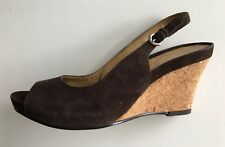 *CARVELA* KURT GEIGER Size 38 Elegant Wedge Heel Choc Brown Suede Peep Toe Shoes