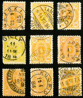 Finland Stamps # 41a Used Lot of 9 with Town Cancels