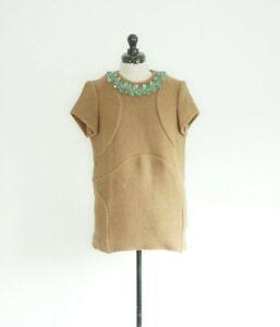 Marni pure wool long tunic top with beaded neckline, IT40, Small Medium