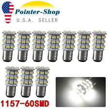 10x Pure White 1157 BAY15D 60-SMD LED Tail Brake Stop Turn Signal Light Bulbs