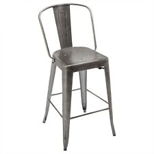 New Viktor Industrial Tolix-Style Steel Bar Stool with Brushed Pewter Finish