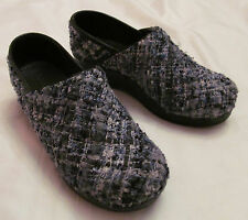 SANITA tweed knobby fabric in blue clogs 38 8 M