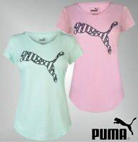 Ladies Genuine Puma V Neck Cropped Sleeves Printed Heath Cat T Shirt Size 8-16