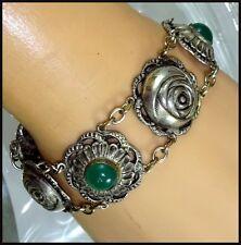 Vintage Repousse Rose Bracelet Apple Green Chrysoprase / Glass Cabochon Settings
