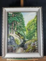 WOODED GORGE KILLIN PERTHSHIRE SCOTLAND OIL PAINTING BY BRIAN RIMMER DATED 1978