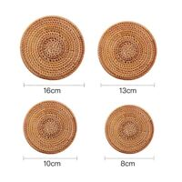 6 Pcs Round Rattan Coasters Bowl Pad Insulation Place Mats Table Padding Cup Mat
