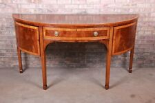 Antique Federal Banded Mahogany and Satinwood Demilune Sideboard, Circa 1900