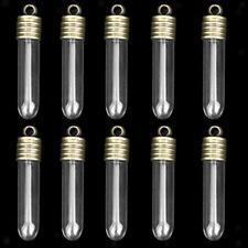 10 Test Tube Wish Bottles Bead Pill Flower Glass Vial Pendant Charm Conainer