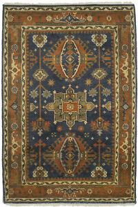 Handmade Indo-Karajeh 4X6 Tribal Geometric Oriental Rug Farmhouse Decor Carpet