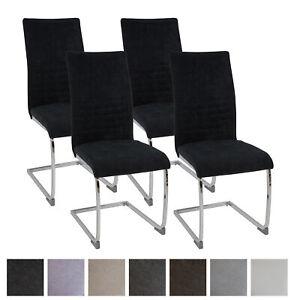 Esszimmerstühle LUGANO 4er-Set schwarz, Stoff Freischwinger Schwing-Stuhl Set