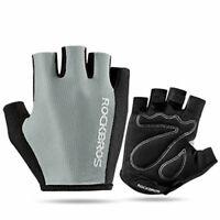 ROCKBROS Bike Pad Half Finger Short Finger Gloves Sports Breath Gray Gloves