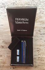 VINTAGE VERY RARE 1960's BLUE ENAMEL RONSON VARACHEM LIGHTER BOXED & CARTRIDGES