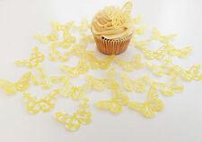 32 Edible Lemon Heaven Butterflies Pre Cut Wafer Cupcake Toppers