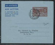 BRITISH HONDURAS (P1106B) 1953 KGVI 10C AEROGRAMME TO USA NO MSG