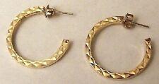 boucles d'oreilles percées bijou rétro vintage anneau plat couleur or clair 4582